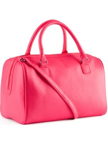 Bag - predominant colour: hot pink; occasions: casual, evening, work, holiday; type of pattern: standard; style: bowling; length: handle; size: standard; material: faux leather; embellishment: zips; pattern: plain; trends: fluorescent; finish: fluorescent