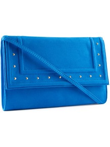 Clutch - predominant colour: royal blue; occasions: evening, occasion, holiday; type of pattern: light; style: clutch; length: shoulder (tucks under arm); size: small; material: faux leather; embellishment: studs; pattern: plain; trends: fluorescent; finish: plain