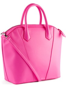Bag - predominant colour: hot pink; occasions: casual, work, holiday; type of pattern: standard; style: tote; length: handle; size: standard; material: faux leather; embellishment: zips; pattern: plain; trends: fluorescent; finish: plain