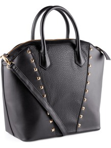 Bag - predominant colour: black; occasions: casual, evening, work; type of pattern: small; style: tote; length: handle; size: standard; material: faux leather; embellishment: studs; pattern: plain; trends: metallics; finish: plain