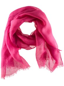 Scarf - predominant colour: hot pink; occasions: casual, evening, work, holiday; type of pattern: standard; style: regular; size: standard; material: fabric; embellishment: fringing; pattern: plain; trends: fluorescent