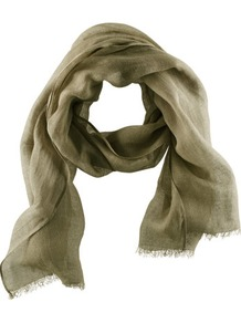 Scarf - predominant colour: khaki; occasions: casual, evening, work; type of pattern: standard; style: regular; size: standard; material: fabric; embellishment: fringing; pattern: plain
