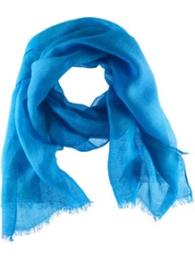 Scarf - predominant colour: diva blue; occasions: casual, evening, work, holiday; type of pattern: standard; style: regular; size: standard; material: fabric; embellishment: fringing; pattern: plain; trends: fluorescent