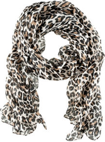 Scarf - predominant colour: black; occasions: casual, evening, work, occasion, holiday; type of pattern: heavy; style: regular; size: standard; material: fabric; pattern: animal print; trends: statement prints