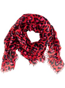 Scarf - predominant colour: true red; occasions: casual, evening, work; type of pattern: standard; style: square; size: standard; material: fabric; pattern: animal print; trends: statement prints