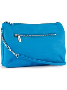 Shoulder Bag - predominant colour: diva blue; occasions: casual, evening, work, occasion, holiday; type of pattern: standard; style: shoulder; length: shoulder (tucks under arm); size: standard; material: faux leather; pattern: plain; trends: fluorescent; finish: plain
