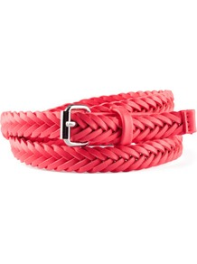 Belt - predominant colour: true red; occasions: casual, evening, work; type of pattern: light; style: plaited/woven; size: skinny; worn on: waist; material: faux leather; pattern: plain; finish: plain; embellishment: buckles