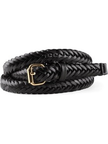 Belt - predominant colour: black; occasions: casual, evening, work; style: plaited/woven; size: skinny; worn on: waist; material: faux leather; pattern: plain; finish: plain; embellishment: buckles