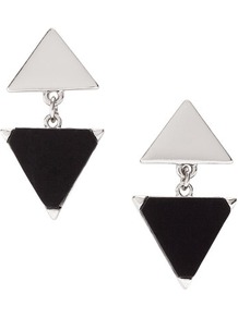 Earrings - predominant colour: black; occasions: evening, work, occasion, holiday; style: drop; length: mid; size: standard; material: chain/metal; fastening: pierced; trends: modern geometrics; finish: plain; embellishment: chain/metal