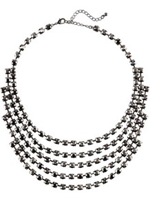 Necklace - predominant colour: silver; occasions: evening, occasion; style: multistrand; length: short; size: large/oversized; material: chain/metal; trends: metallics; finish: metallic; embellishment: crystals