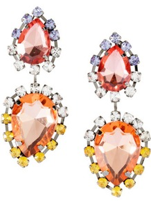 Earrings - predominant colour: true red; occasions: evening, occasion; style: drop; length: long; size: large/oversized; material: chain/metal; fastening: pierced; finish: metallic; embellishment: crystals