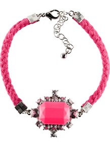 Bracelet - predominant colour: hot pink; occasions: casual, evening, occasion, holiday; style: bangle; size: small; material: fabric; trends: fluorescent; finish: plain; embellishment: jewels