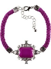 Bracelet - predominant colour: purple; occasions: casual, evening, work, occasion, holiday; style: bangle; size: standard; material: fabric; trends: fluorescent; finish: plain; embellishment: jewels