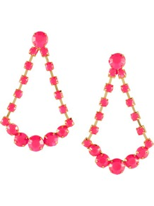 Earrings - predominant colour: hot pink; occasions: evening, occasion, holiday; style: drop; length: mid; size: large/oversized; material: chain/metal; fastening: pierced; trends: fluorescent; finish: plain; embellishment: beading