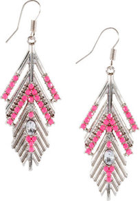 Earrings - predominant colour: silver; occasions: evening, occasion, holiday; style: drop; length: long; size: large/oversized; material: chain/metal; fastening: pierced; finish: plain; embellishment: beading