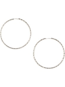 Earrings - predominant colour: silver; occasions: casual, evening, work, occasion; style: hoop; length: mid; size: standard; material: chain/metal; fastening: pierced; finish: plain; embellishment: chain/metal