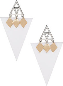Triangle Shard Stud Earrings - predominant colour: white; occasions: evening, work, occasion, holiday; style: drop; length: long; size: standard; material: plastic/rubber; fastening: pierced; trends: modern geometrics; finish: plain; embellishment: chain/metal