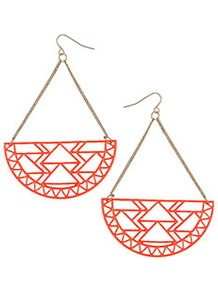 Aztec Cut Out Earrings - predominant colour: true red; occasions: casual, evening, occasion; style: drop; length: long; size: large/oversized; material: chain/metal; fastening: pierced; trends: fluorescent, modern geometrics; finish: fluorescent; embellishment: chain/metal