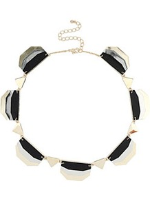 Metal Layered Collar - predominant colour: black; occasions: evening, work, occasion; style: choker/collar; length: short; size: standard; material: chain/metal; trends: metallics; finish: metallic