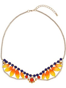 Sunset Stone Collar - predominant colour: bright orange; occasions: evening, work, occasion, holiday; style: choker/collar; length: short; size: standard; material: chain/metal; trends: fluorescent; finish: fluorescent; embellishment: jewels