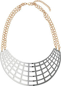 Grid Necklace - predominant colour: silver; occasions: evening, work, occasion, holiday; style: choker/collar; length: short; size: large/oversized; material: chain/metal; trends: metallics, modern geometrics; finish: metallic; embellishment: chain/metal