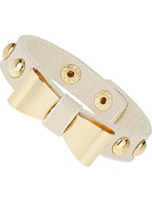 Bow Stud Cuff - predominant colour: white; occasions: casual, evening, work, occasion, holiday; style: cuff; size: small; material: fabric; trends: metallics; finish: metallic; embellishment: bow