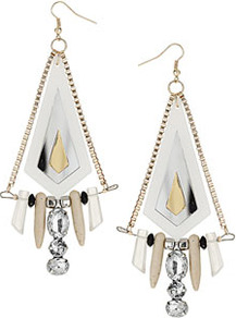 Acrylic And Shard Earrings - predominant colour: white; occasions: evening, work, occasion, holiday; style: drop; length: long; size: large/oversized; material: chain/metal; fastening: pierced; trends: metallics; finish: metallic; embellishment: crystals