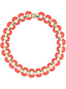Half Disc Collar - predominant colour: coral; occasions: evening, work, occasion, holiday; style: choker/collar; length: short; size: standard; material: chain/metal; trends: fluorescent, metallics; finish: fluorescent; embellishment: jewels