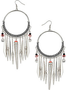 Mono Thread Drop Earrings - predominant colour: silver; occasions: casual, evening, work, holiday; style: drop; length: long; size: large/oversized; material: chain/metal; fastening: pierced; trends: metallics; finish: fluorescent; embellishment: chain/metal