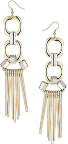 Mix Geo Shard Drop Earrings - predominant colour: gold; occasions: evening, occasion, holiday; style: drop; length: long; size: large/oversized; material: chain/metal; fastening: pierced; trends: metallics, modern geometrics; finish: metallic; embellishment: chain/metal