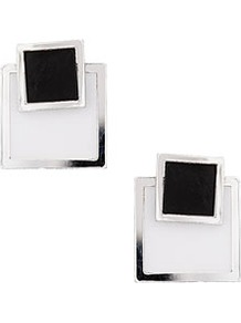 Double Square Stud Earrings - predominant colour: black; occasions: casual, evening, work, occasion, holiday; style: stud; length: short; size: standard; material: chain/metal; fastening: pierced; trends: modern geometrics; finish: plain; embellishment: chain/metal
