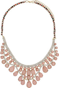 Rhinestone Flower Collar - predominant colour: blush; occasions: evening, occasion; style: standard; length: mid; size: large/oversized; material: chain/metal; trends: metallics; finish: metallic; embellishment: jewels