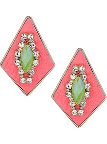 Leather And Rhinestone Earrings - predominant colour: coral; occasions: casual, evening, work, occasion, holiday; style: drop; length: mid; size: standard; material: chain/metal; fastening: pierced; trends: fluorescent; finish: fluorescent; embellishment: jewels