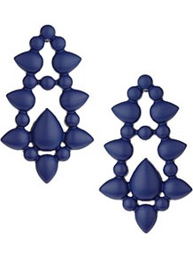 Matte Door Knocker Earrings - predominant colour: royal blue; occasions: casual, evening, work, occasion, holiday; style: drop; length: long; size: standard; material: chain/metal; fastening: pierced; trends: metallics; finish: fluorescent; embellishment: chain/metal