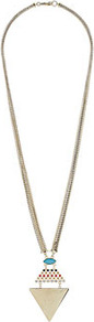 Long Triangle Pendant - predominant colour: gold; occasions: casual, evening, work, occasion, holiday; style: pendant; length: long; size: standard; material: chain/metal; trends: metallics, modern geometrics; finish: metallic; embellishment: jewels