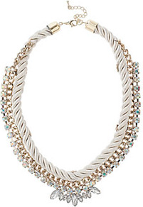Rope And Rhinestone Collar - predominant colour: light grey; occasions: casual, evening, occasion; style: choker/collar; length: short; size: large/oversized; material: chain/metal; trends: metallics; finish: metallic; embellishment: crystals