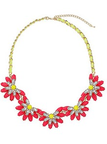 Neon Flower Collar - predominant colour: true red; occasions: casual, evening, work, occasion, holiday; style: choker/collar; length: short; size: large/oversized; material: chain/metal; trends: high impact florals, fluorescent; finish: fluorescent; embellishment: jewels