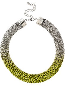 Ombre Metal Collar - predominant colour: silver; occasions: casual, evening, work, holiday; style: choker/collar; length: short; size: large/oversized; material: chain/metal; trends: fluorescent, metallics; finish: fluorescent; embellishment: chain/metal