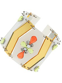 Neon Perspex Bracelet - predominant colour: white; occasions: casual, evening, work, occasion, holiday; style: cuff; size: large/oversized; material: plastic/rubber; trends: fluorescent, metallics; finish: fluorescent; embellishment: jewels