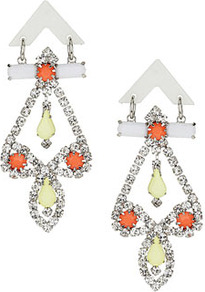 Neon Chandelier Earrings - occasions: evening, occasion, holiday; predominant colour: multicoloured; style: chandelier; length: long; size: large/oversized; material: chain/metal; fastening: pierced; trends: fluorescent, metallics; finish: fluorescent; embellishment: crystals