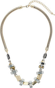 Bolt Stone Collar - predominant colour: stone; occasions: evening, work, occasion; style: standard; length: mid; size: standard; material: chain/metal; trends: metallics; finish: metallic; embellishment: chain/metal