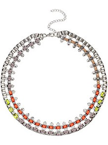 Cord Box Chain Collar - occasions: casual, evening, work, occasion, holiday; predominant colour: multicoloured; style: choker/collar; length: short; size: standard; material: chain/metal; trends: fluorescent, metallics; finish: fluorescent; embellishment: crystals