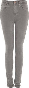 Tall Moto Grey Leigh Jeans - style: skinny leg; length: standard; pattern: plain; pocket detail: traditional 5 pocket; waist: mid/regular rise; predominant colour: light grey; occasions: casual; fibres: cotton - stretch; texture group: denim; pattern type: fabric