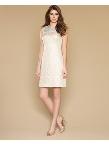 Paxi Shift Dress - style: shift; length: mid thigh; fit: tailored/fitted; pattern: plain; sleeve style: sleeveless; bust detail: added detail/embellishment at bust; waist detail: fitted waist; predominant colour: ivory; occasions: evening, occasion; fibres: silk - mix; neckline: crew; sleeve length: sleeveless; texture group: silky - light; pattern type: fabric; pattern size: small & light