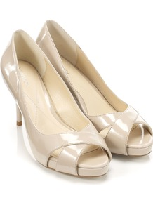 Fuseta Shoe - predominant colour: nude; occasions: evening, work, occasion; material: faux leather; heel height: high; heel: stiletto; toe: open toe/peeptoe; style: courts; finish: patent; pattern: plain