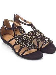 Bergamont Sandal - predominant colour: black; occasions: casual, holiday; material: fabric; heel height: flat; embellishment: studs; ankle detail: ankle strap; heel: standard; toe: open toe/peeptoe; style: strappy; finish: plain; pattern: plain