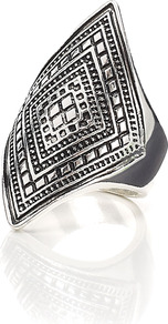 Prairie Ring - predominant colour: silver; occasions: casual, evening, work, holiday; style: cocktail; size: large/oversized; material: chain/metal; finish: metallic
