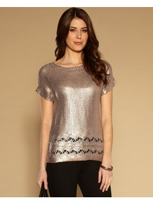 Freddie Foil Print Jumper - neckline: round neck; pattern: plain; style: standard; predominant colour: gold; occasions: casual, evening; length: standard; fibres: acrylic - 100%; fit: standard fit; sleeve length: short sleeve; sleeve style: standard; texture group: knits/crochet; trends: metallics; pattern type: knitted - other; pattern size: standard