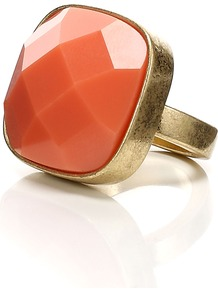 Celandine Ring - predominant colour: coral; occasions: casual, evening, work, occasion; style: cocktail; size: large/oversized; material: chain/metal; finish: plain; embellishment: jewels