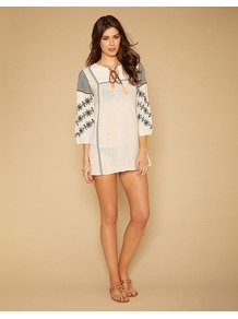 Connie Cross Stitch Kaftan - style: smock; length: mini; neckline: round neck; shoulder detail: contrast pattern/fabric at shoulder; predominant colour: white; secondary colour: black; occasions: casual, holiday; fit: straight cut; fibres: cotton - 100%; sleeve length: 3/4 length; sleeve style: standard; texture group: cotton feel fabrics; pattern type: fabric; pattern size: small &amp; light; pattern: patterned/print; embellishment: embroidered